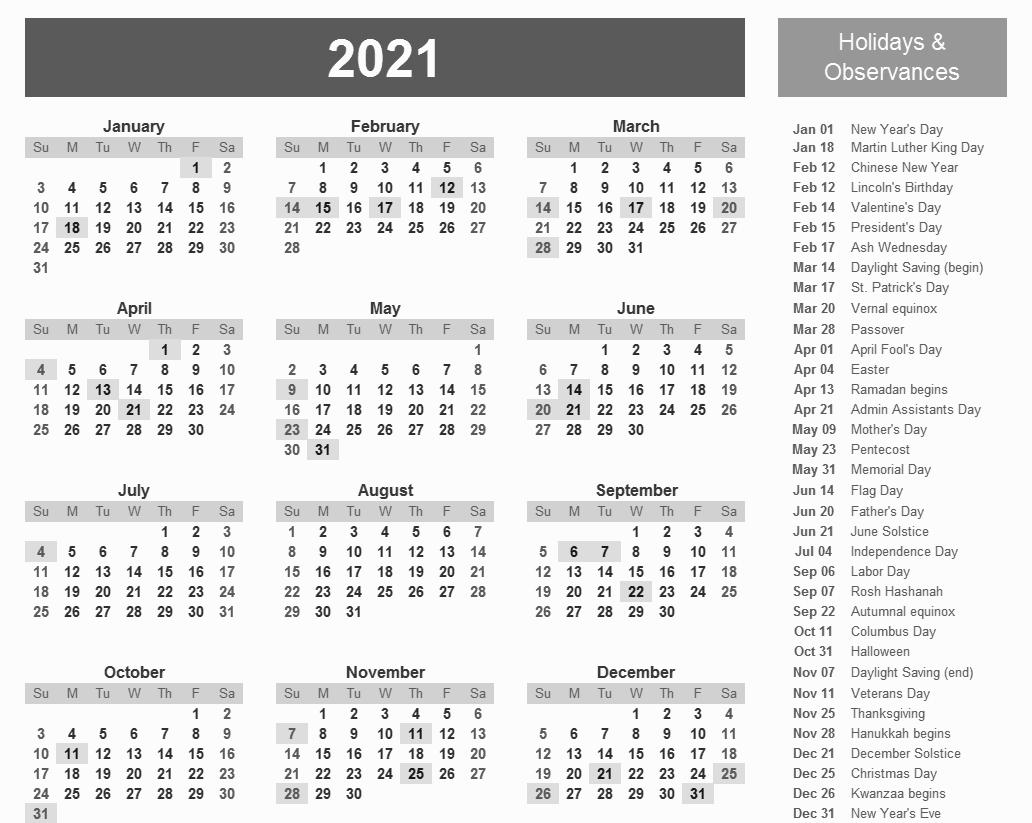 Julien Code 2021 - Template Calendar Design