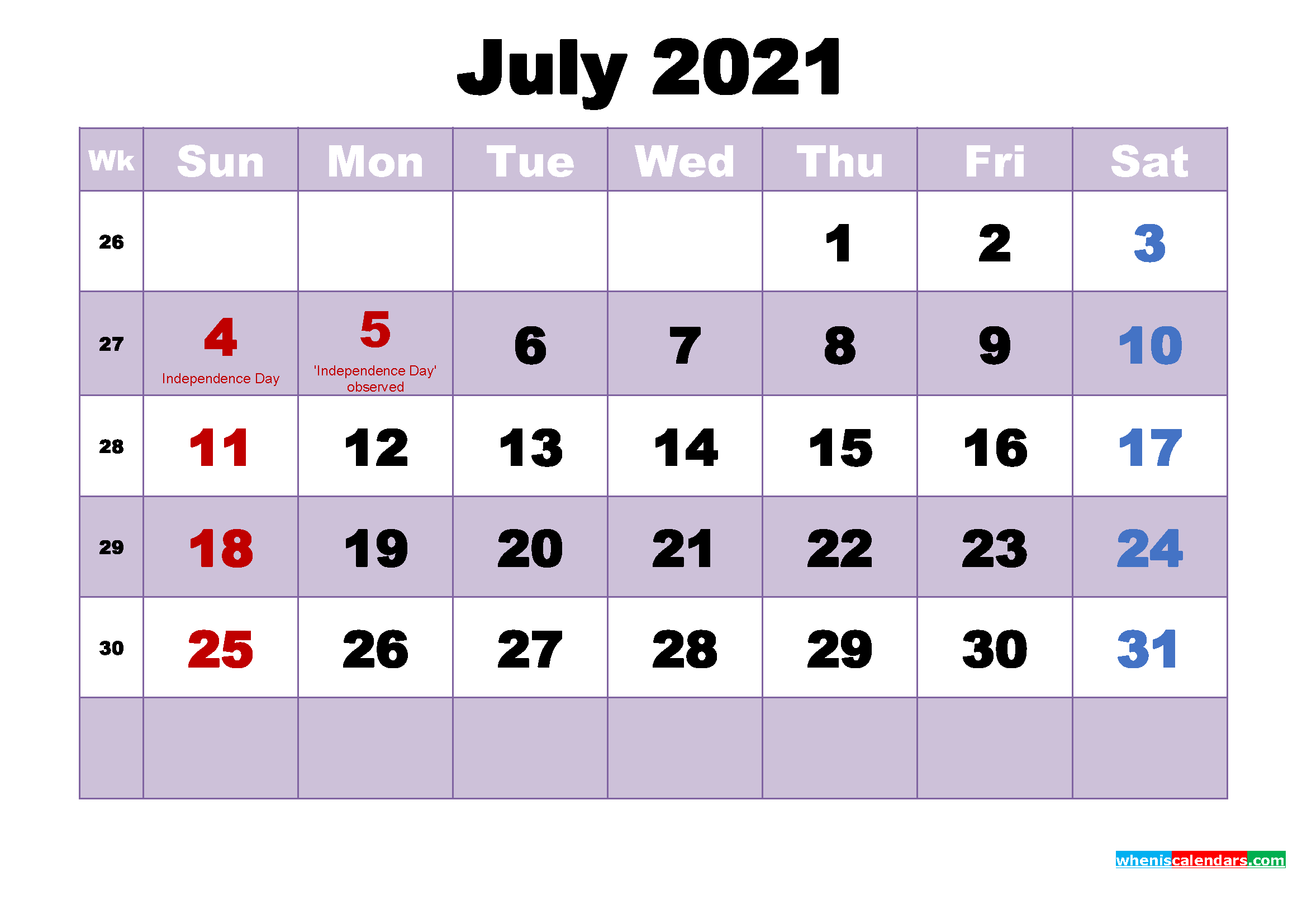 July 2021 Desktop Calendar   Lunar Calendar