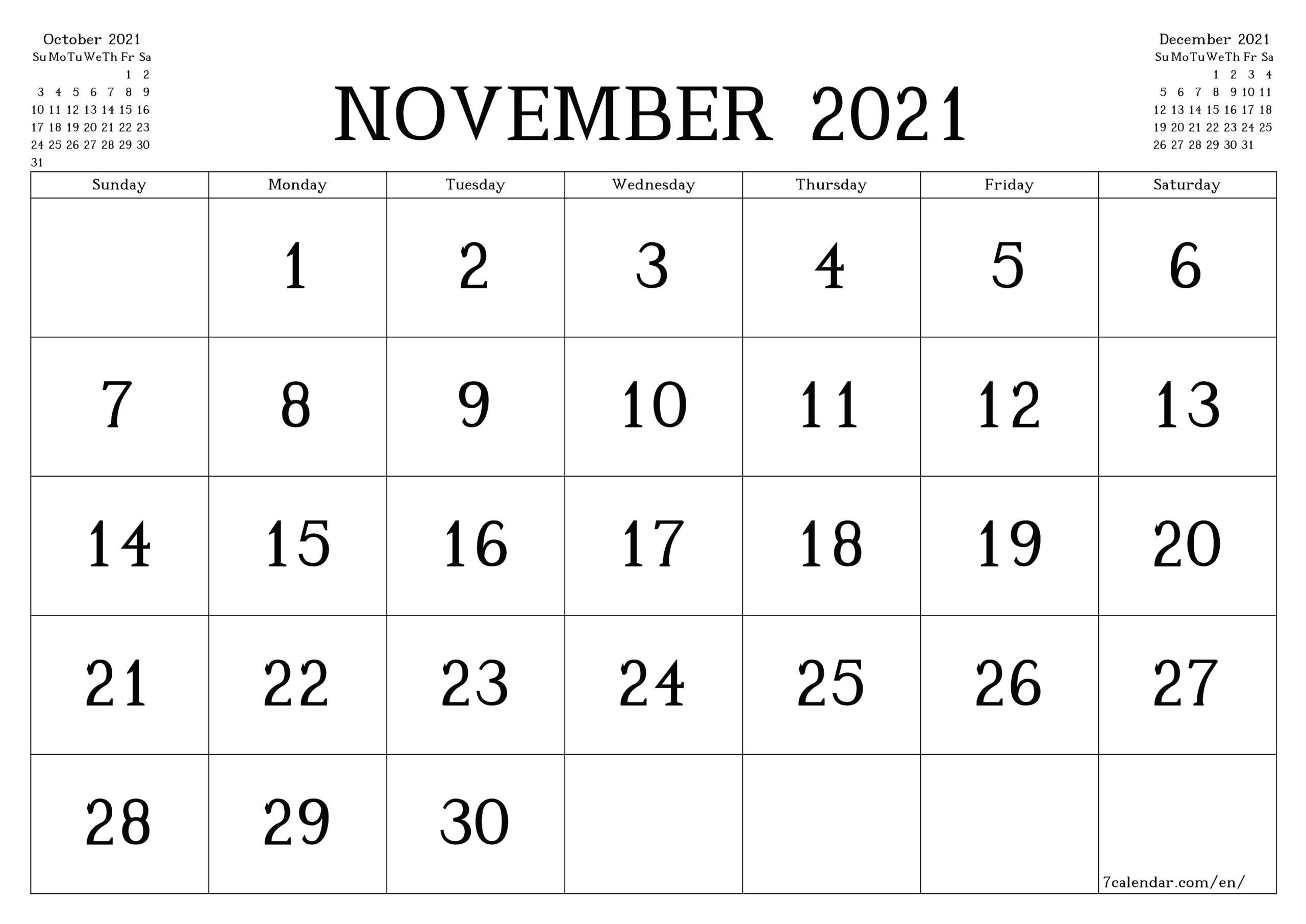 Large Block Printable Calendar 2021   Calendar Printables