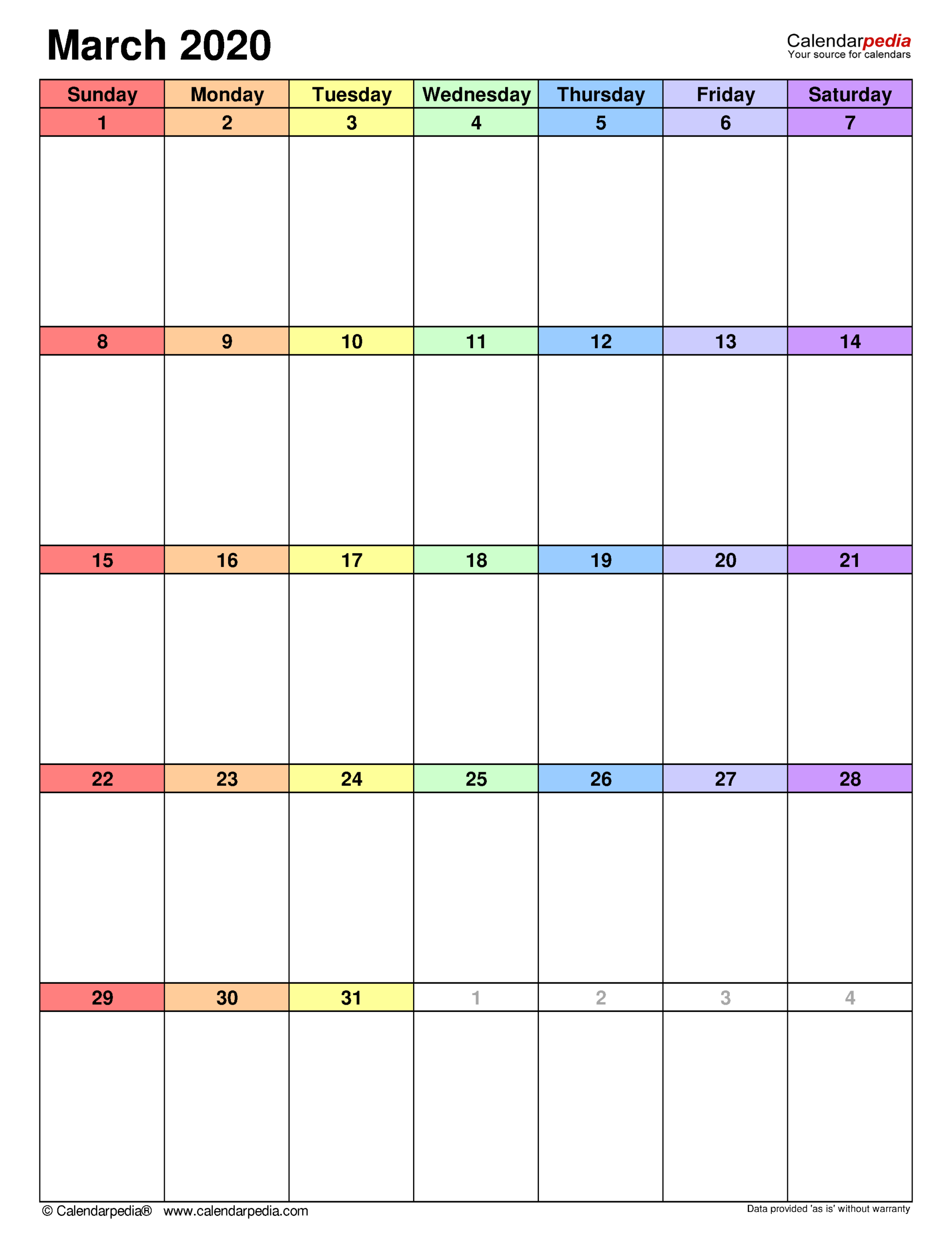 March 2020 Calendar   Templates For Word, Excel And Pdf