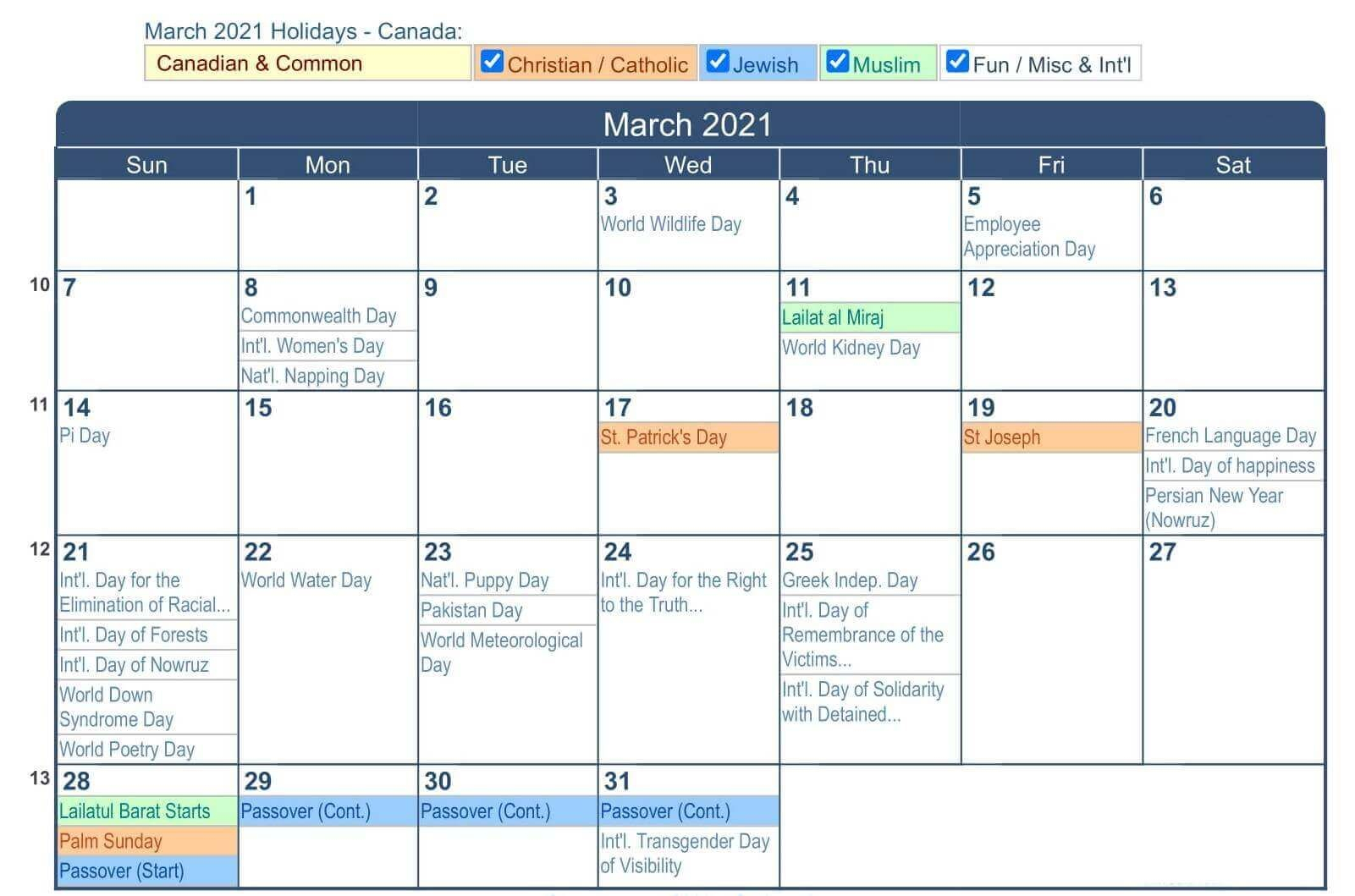 March 2021 Calendar Canada With National Bank And Public