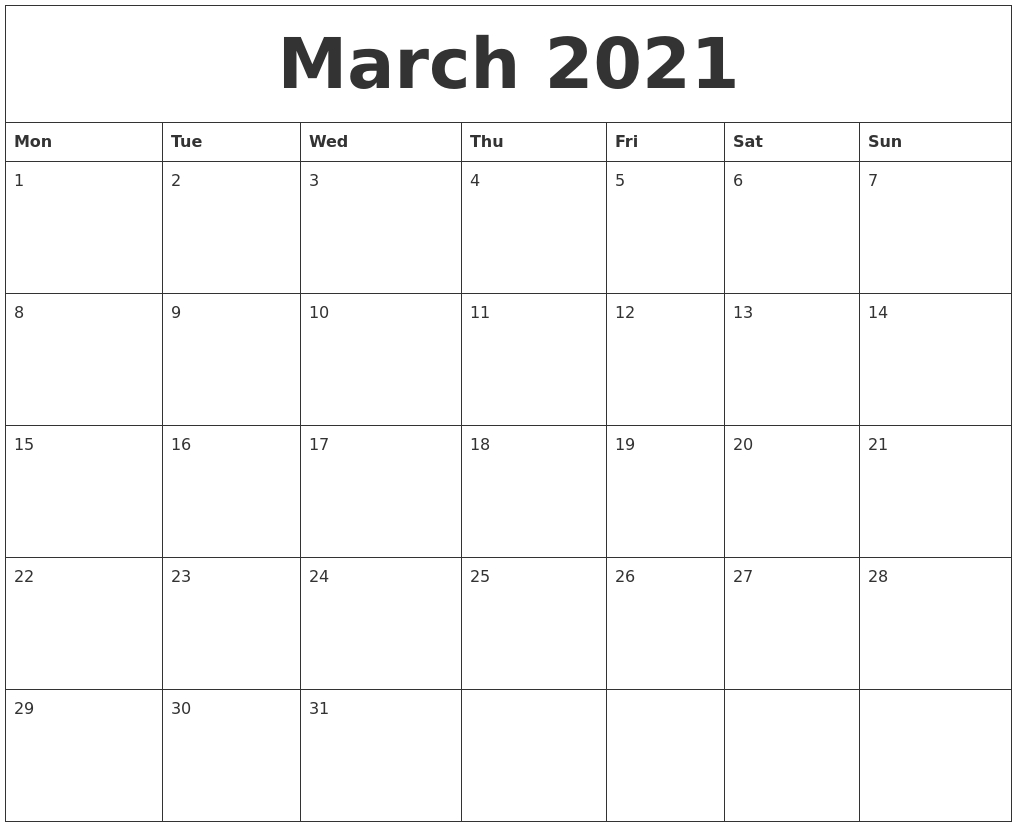 March 2021 Editable Calendar Template