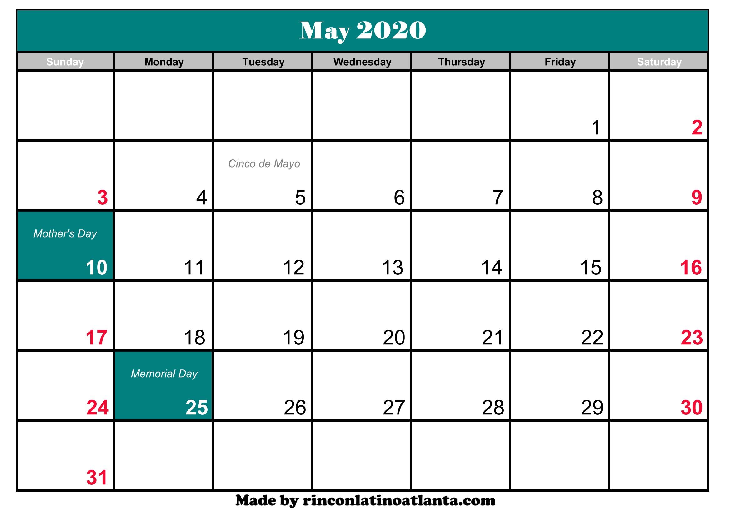 May 2020 Calendar With Holiday | Calendar Template Printable