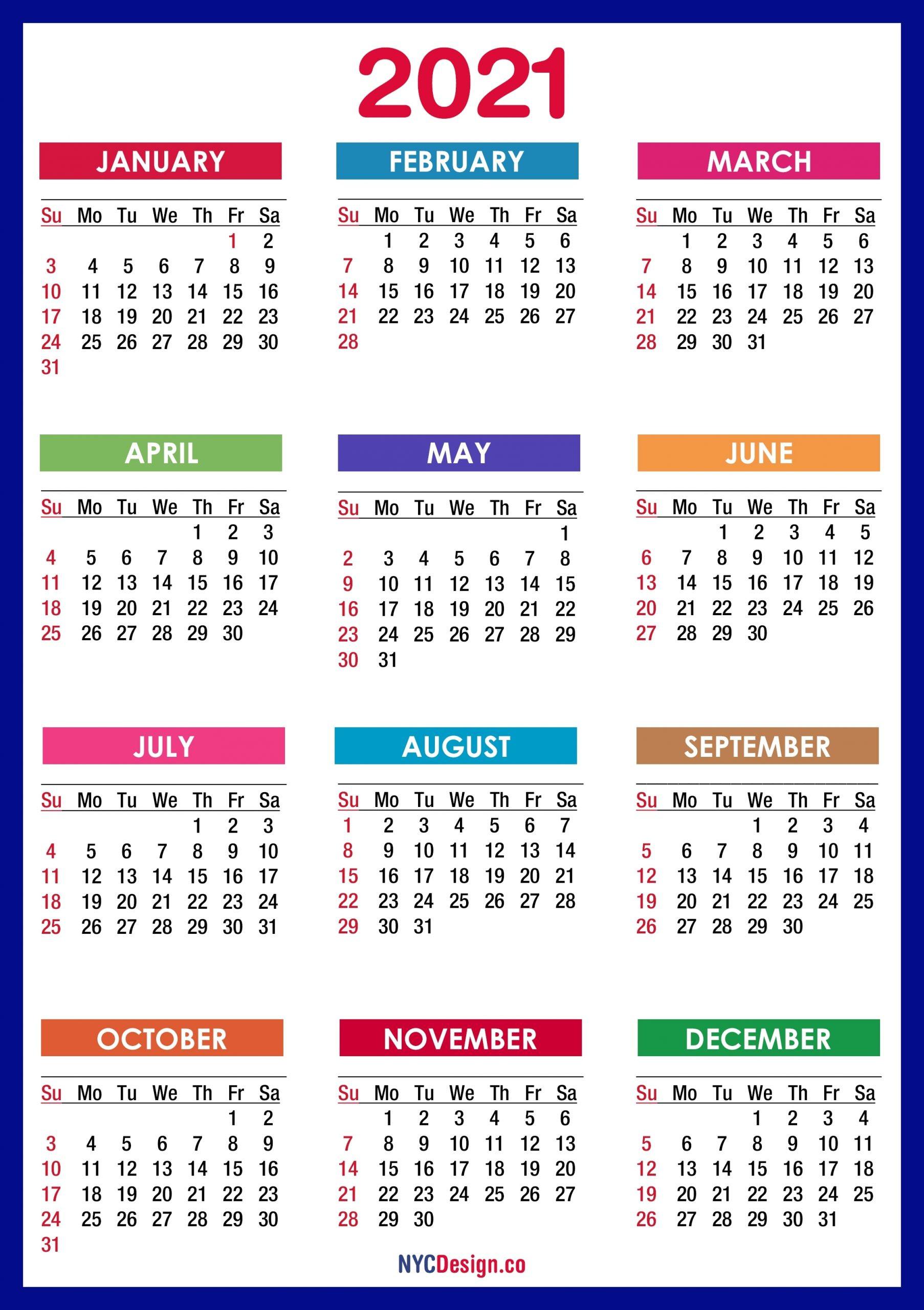 Monday Through Sunday Calendar 2021 - Template Calendar Design
