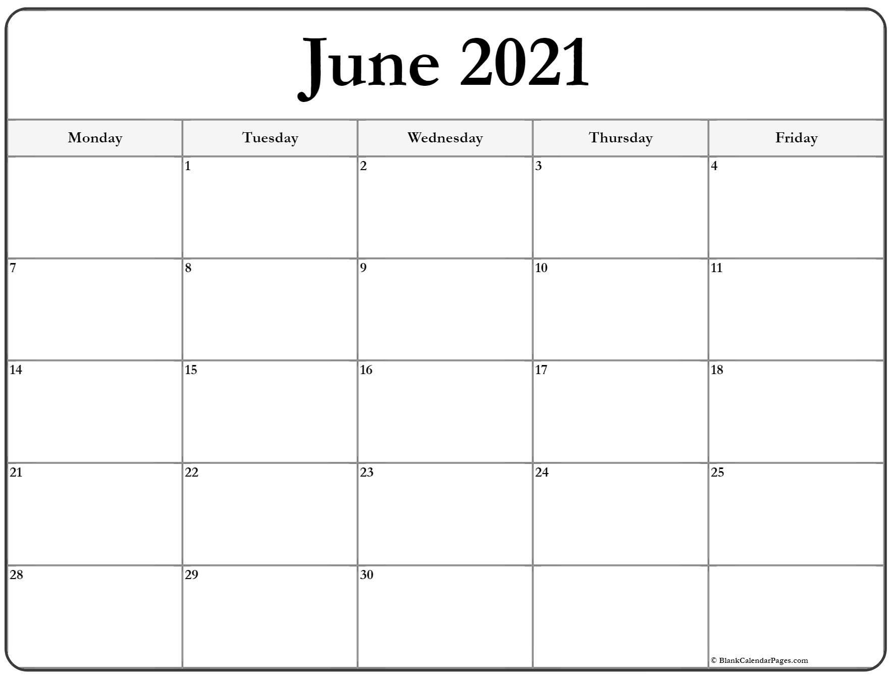 Monday To Friday Calendar   Ten Free Printable Calendar