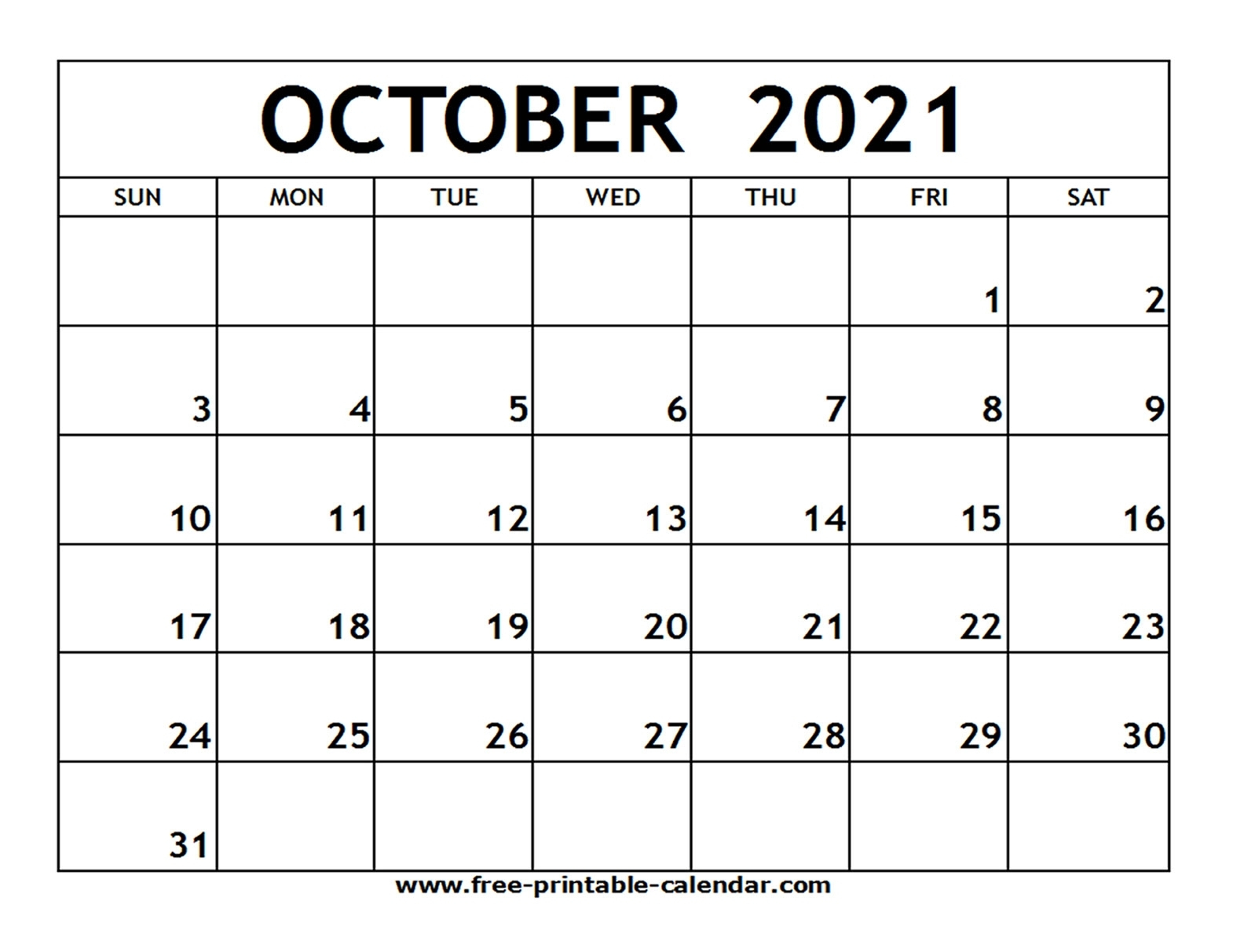 October Calendar 2021   Month Calendar Printable