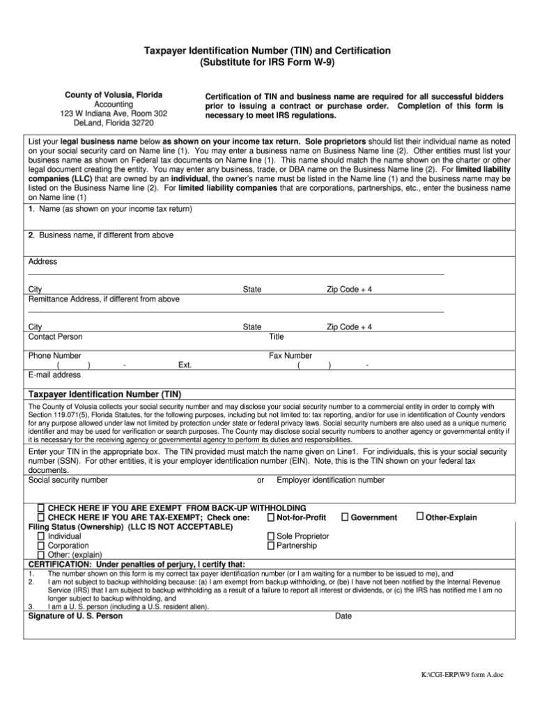 Order Blank W 9 Forms Calendar Template Printable - W9