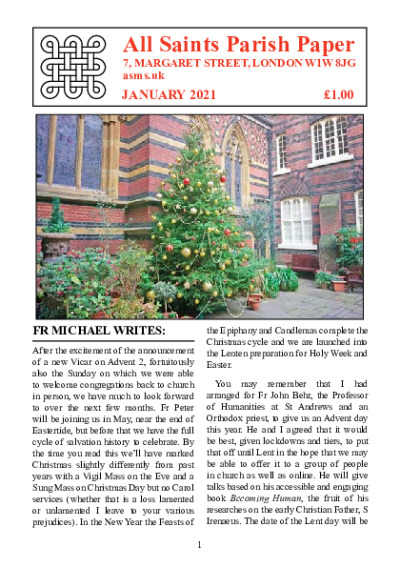 Parish-Paper-January-2021 | All Saints Margaret Street