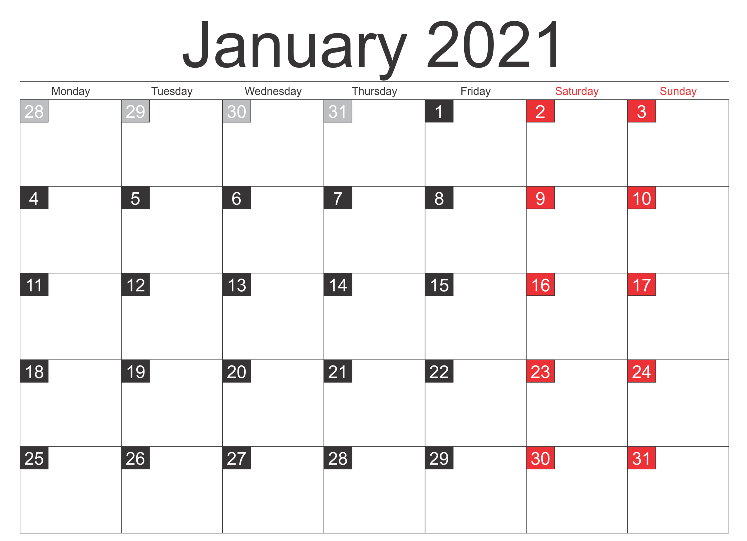 Print Calendar For January 2021 Holidays Sheet