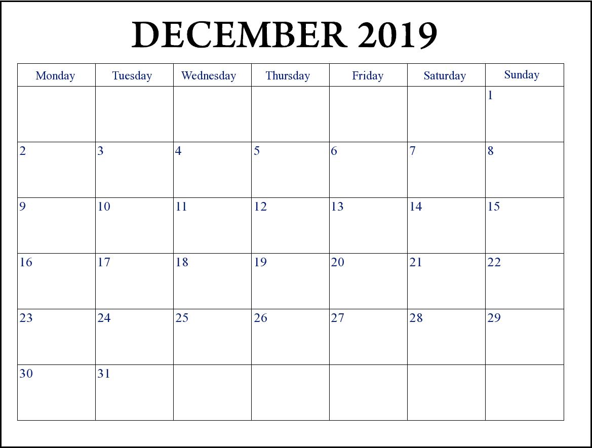 Print December 2019 Editable Calendar   Editable Calendar