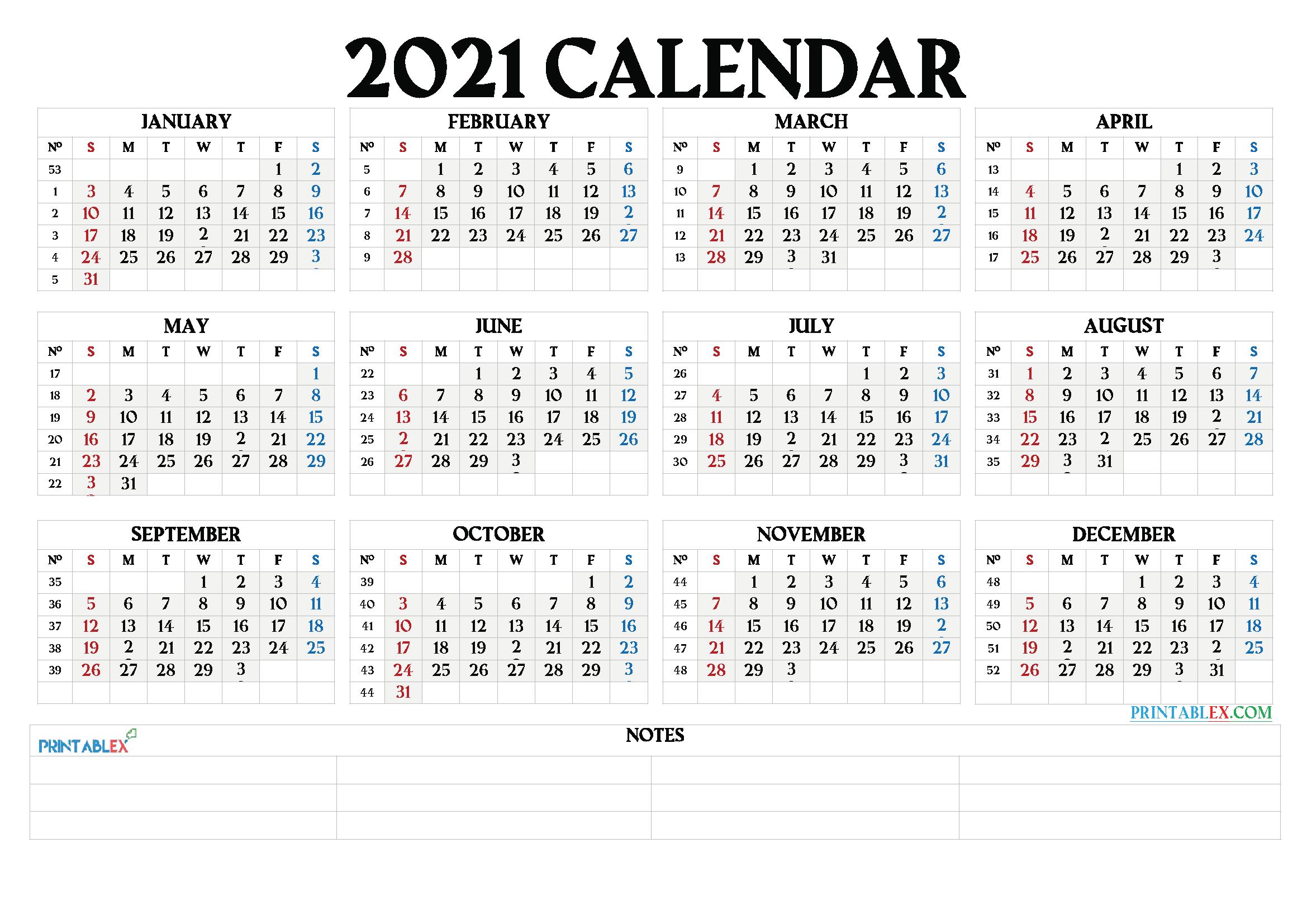 Printable 2021 Calendar By Month - 21Ytw66