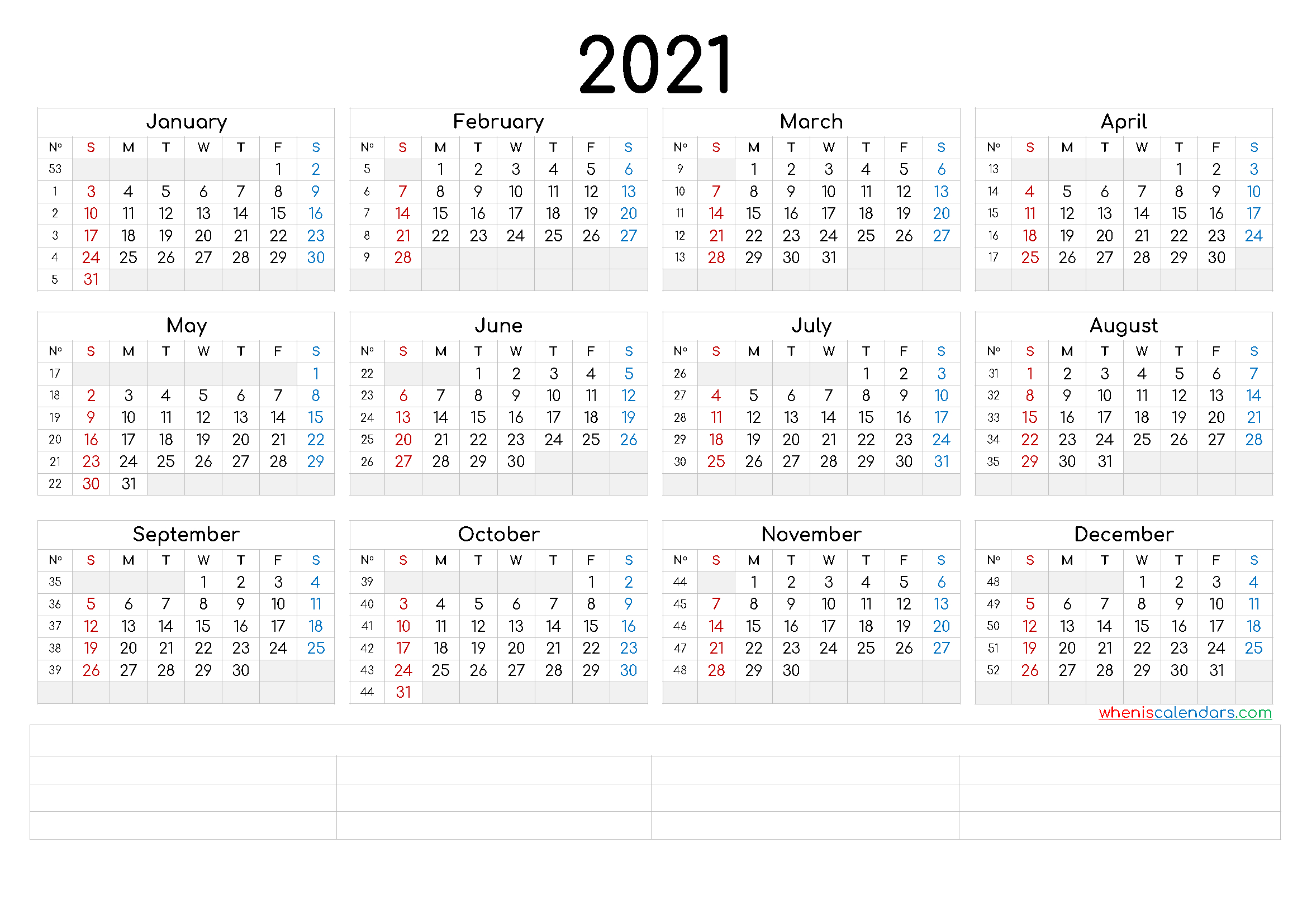 Printable 2021 Calendar By Year (6 Templates) - Free