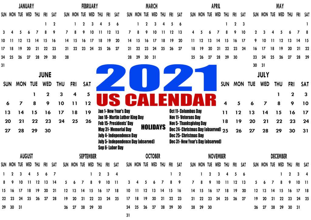 Printable 2021 Us Calendar With Holidays, Federal, Bank