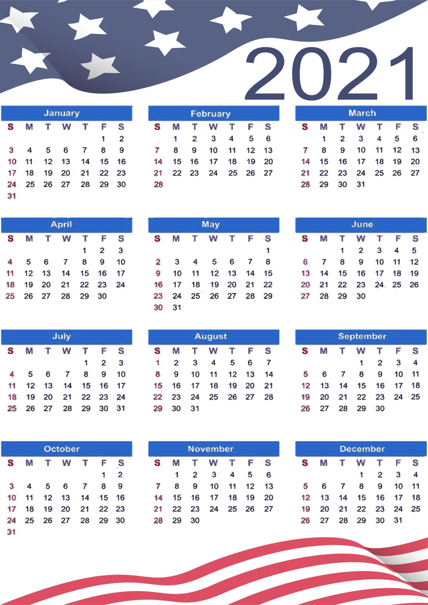 2021 Federal Holiday Calendar
