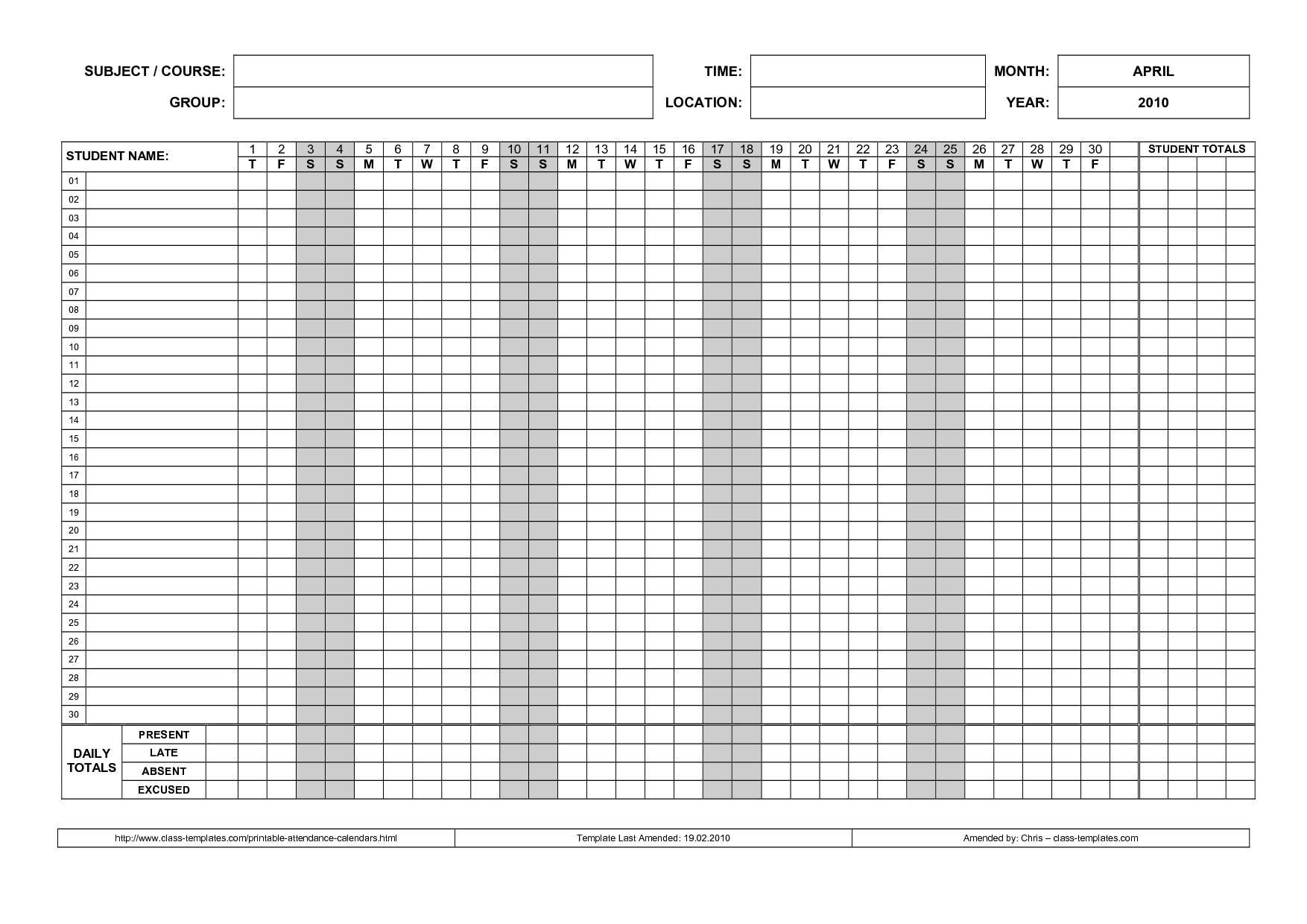Printable Attendance Calendar 2016 • Printable Calendar