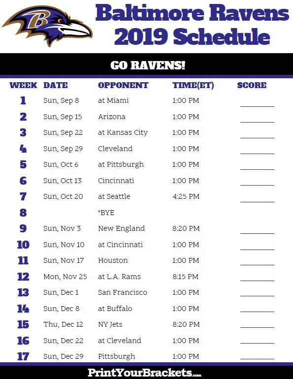 Printable Baltimore Ravens Schedule - 2019 Season | Ravens