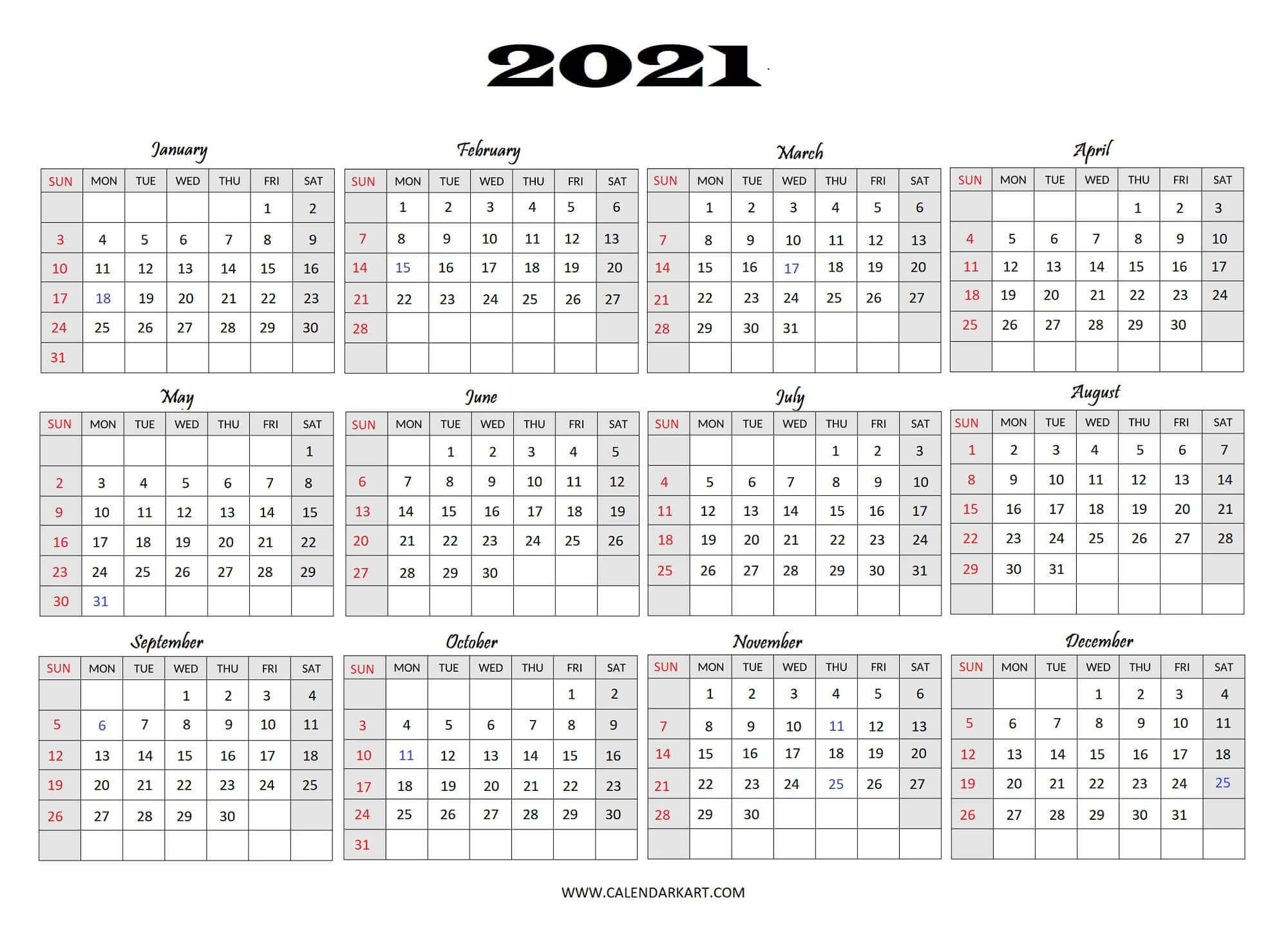 Printable Calendar 2021 Year At A Glance | Free Letter