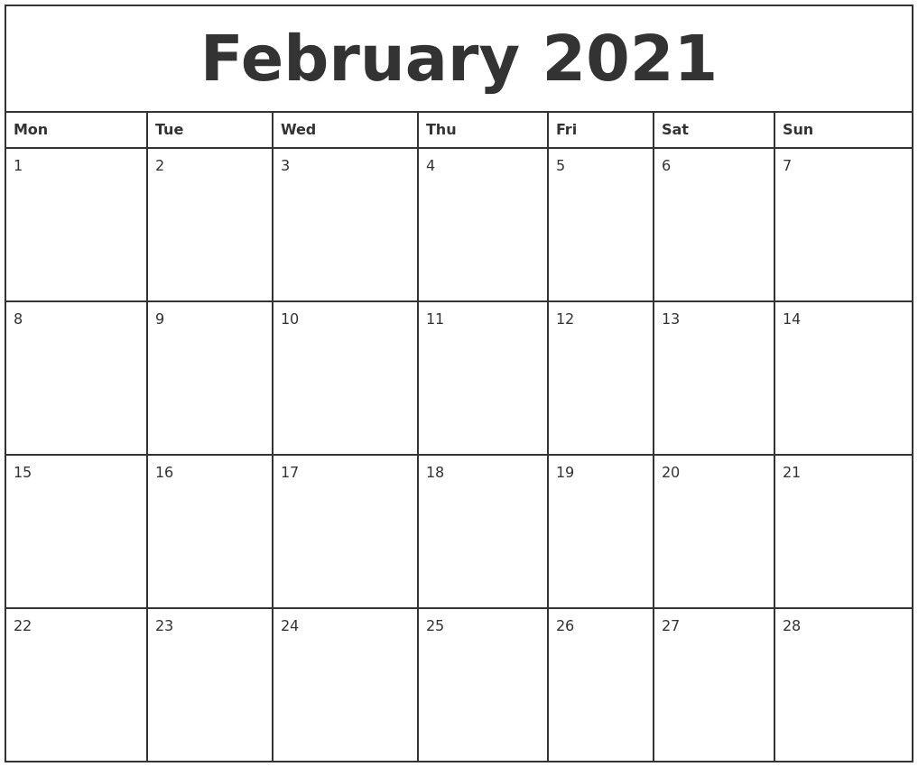 Printable Calendar With Big Blocks   Calendar Template 2021