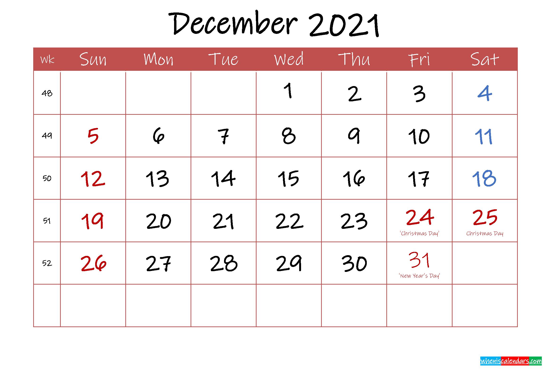 Printable December 2021 Calendar With Holidays - Template