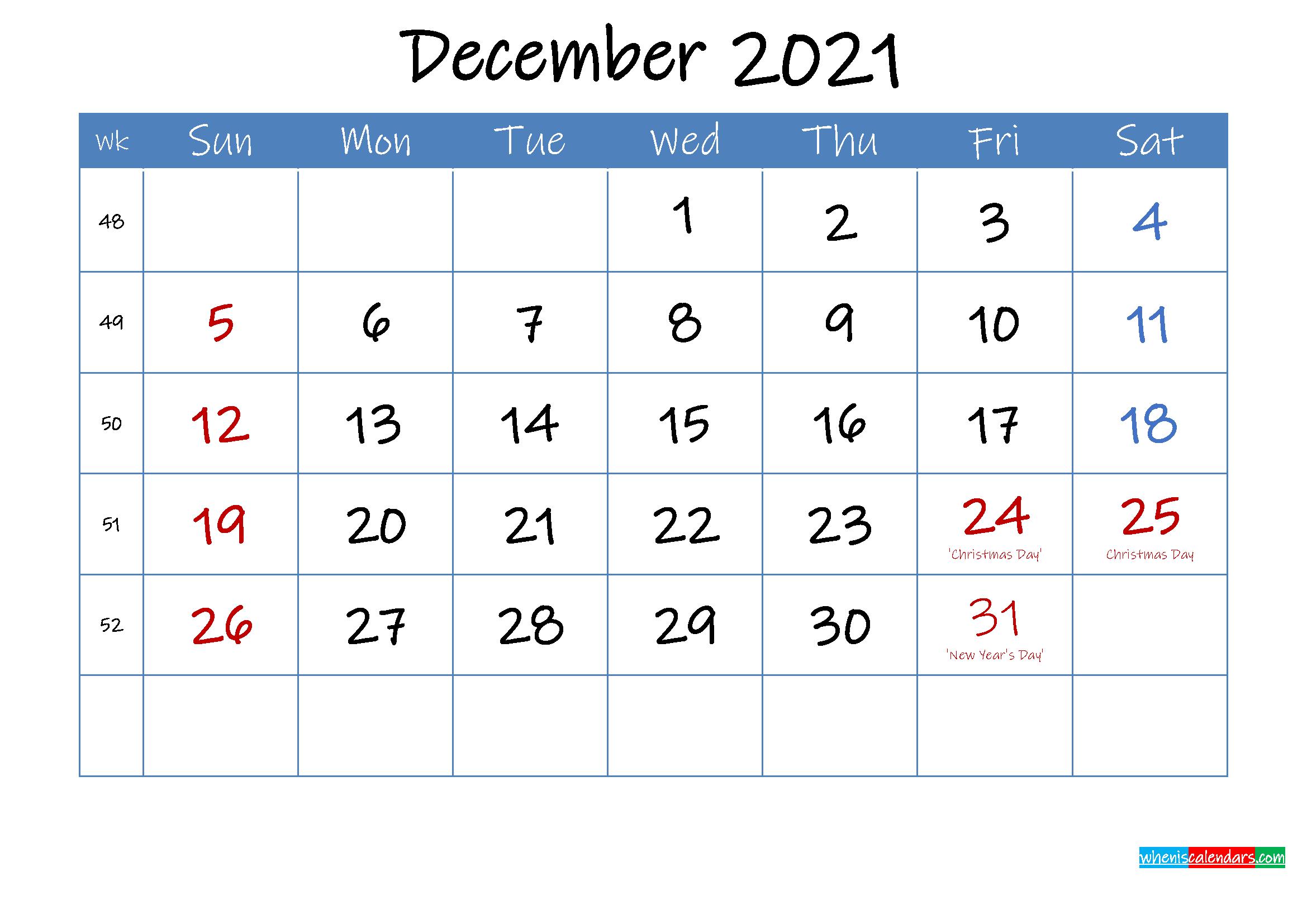 Printable December 2021 Calendar Word - Template Ink21M24
