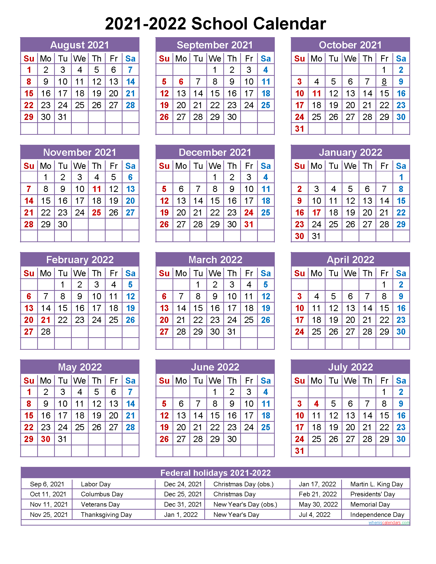 School Calendar 2021 And 2022 Printable (Portrait