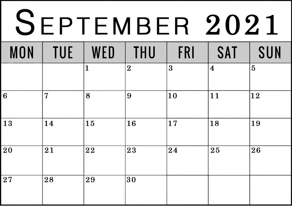 September 2021 Calendar Monday Start To Sunday Blank Free