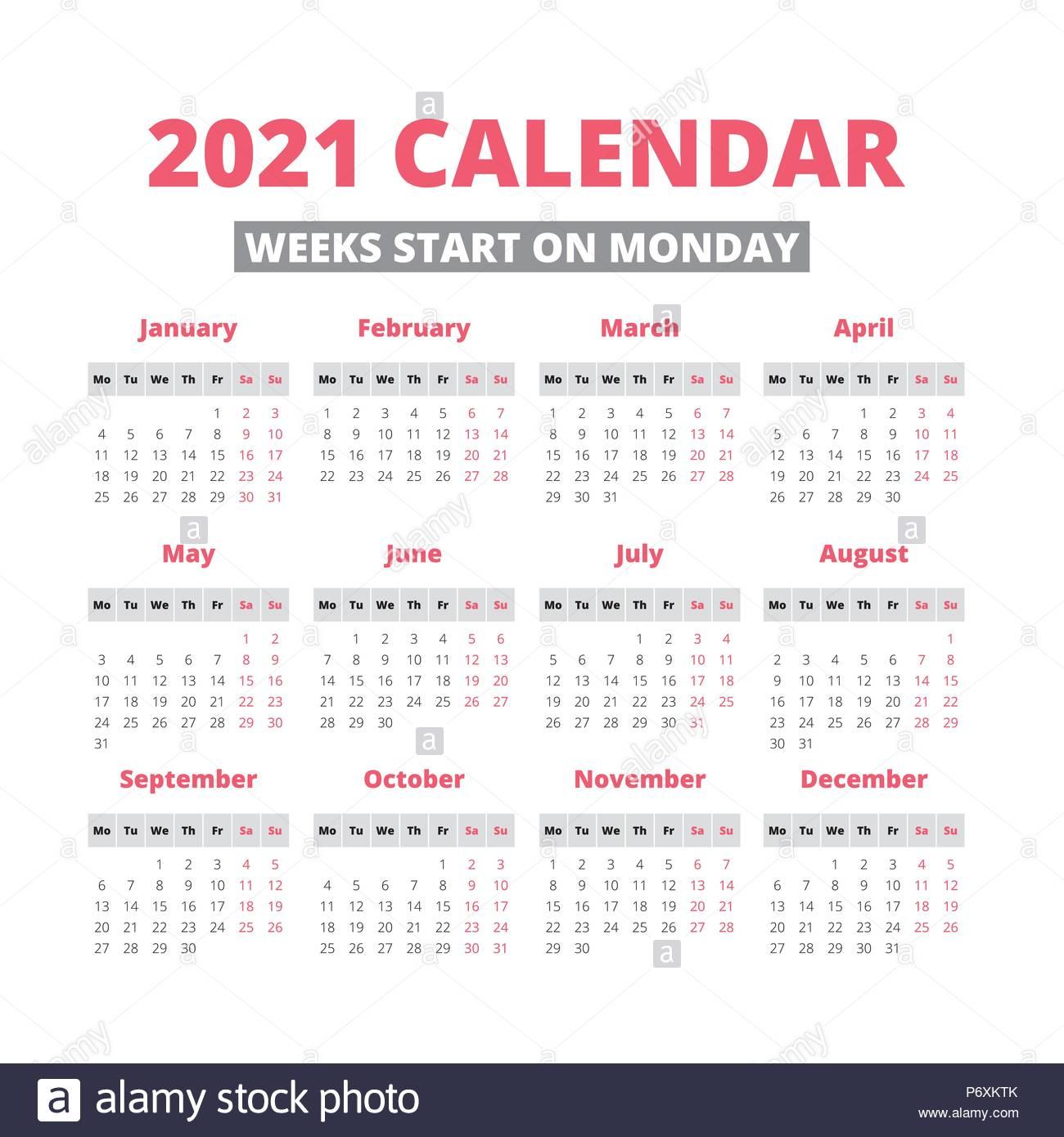 Simple 2021 Year Calendar, Week Starts On Monday Stock