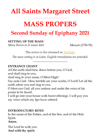 Sung-Mass-Epiphany-2-2021 | All Saints Margaret Street