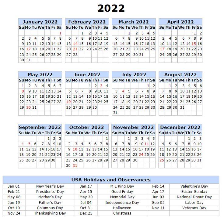 Us 2022 Calendar With Holidays, Festivals, Observances